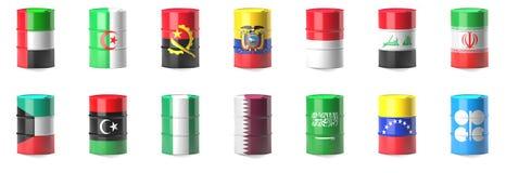 Organisation av oljaexportlandflaggorna stock illustrationer