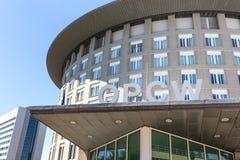Organisation dla prohibici Chemiczne bronie buduje Hague holandie zdjęcia stock