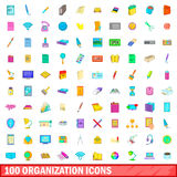 100 organisation icons set, cartoon style. 100 organisation icons set in cartoon style for any design vector illustration Stock Photos