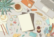 Organisation illustrée de lieu de travail Photos stock