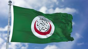 Organisation of Islamic Cooperation Waving Flag. Organisation of Islamic Cooperation OIC flag waving against clear blue sky, close up, with clipping path mask vector illustration