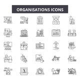 Organisation line icons, signs, vector set, outline illustration concept. Organisation line icons, signs, vector set, outline concept illustration vector illustration