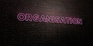 ORGANISATION -Realistic Neon Sign on Brick Wall background - 3D rendered royalty free stock image. Can be used for online banner ads and direct mailers Stock Photo