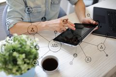 Organisation structure. People`s social network. Business and technology concept. Stock Photo