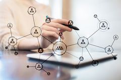 Organisation structure. People`s social network. Business and technology concept. Organisation structure. People`s social network. Business and technology stock image