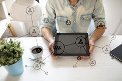 Organisation structure. People`s social networ. Business and technology concept. Organisation structure. People`s social network. Business and technology stock photos