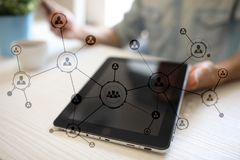 Organisation structure. People`s social network. Business and technology concept. Organisation structure. People`s social network. Business and technology stock images