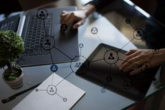 Organisation structure. People`s social network. Business and technology concept. Stock Photos