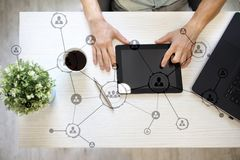 Organisation structure. People`s social network. Business and technology concept. Royalty Free Stock Photo