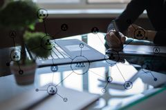 Organisation structure. People`s social network. Business and technology concept. Organisation structure. People`s social network. Business and technology royalty free stock photography