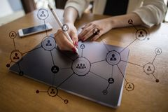 Organisation structure. People`s social network. Business and technology concept. Royalty Free Stock Images