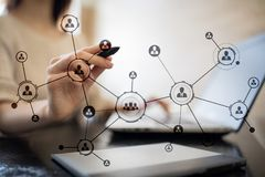 Organisation structure. People`s social network. Business and technology concept. Stock Image