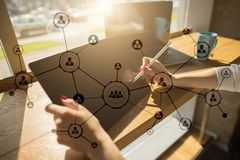 Organisation structure. People`s social network. Business and technology concept. Organisation structure. People`s social network. Business and technology Royalty Free Stock Image