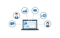 Organisation von Daten bezüglich der Arbeit mit Kunden, CRM-Konzept Kunden-Verhältnis-Managementillustration lizenzfreie abbildung