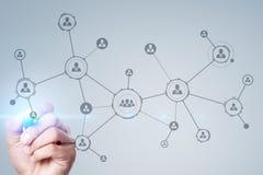 Organisationsstruktur Socialt nätverk för folk` s Affärs- och teknologibegrepp royaltyfria foton