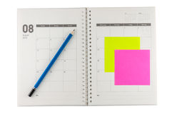 Organisator August-2014 mit Bleistift und Haftnotiz Stockfoto