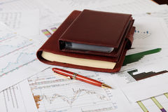 Organisator, Diagramme, Diagramme. Geschäftsschreibtisch. Lizenzfreie Stockbilder
