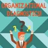 Organisatorisk diagnostik för ordhandstiltext Affärsidé för effektiva vägar att bestämma mellanrum i perforanalysisce stock illustrationer