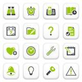 Organisatorpictogrammen. Groene grijze reeks. Stock Foto