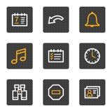 Organisatorweb-Ikonen, Grau knöpft Serie Stockfotografie