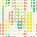 Organisch abstract modern geelgroen oranje seameless patroon met gebroken witte cirkels royalty-vrije illustratie