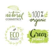Organisch, Bio, Aufkleber-Vektorsatz der Ökologie natürlicher Lizenzfreie Stockfotos