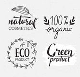 Organisch, bio, vectorreeks van ecologie de natuurlijke etiketten Groen embleem met installatieselementen, kronen en textuur Royalty-vrije Stock Foto's