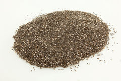 Organisch Chia Seeds On White Stock Foto's