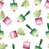 Organisch de groenten naadloos patroon van de waterverftuin Hand getrokken achtergrond met groene ui en radijs Tuin organische gr vector illustratie