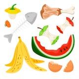 Organisch die afval, het vuilnis van het voedselcompost op witte achtergrond wordt geïsoleerd royalty-vrije illustratie