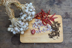 Organisch knoflook en roodgloeiende Spaanse peper Stock Foto's