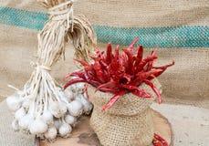 Organisch knoflook en roodgloeiende Spaanse peper Royalty-vrije Stock Afbeelding