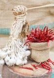 Organisch knoflook en roodgloeiende Spaanse peper Royalty-vrije Stock Foto