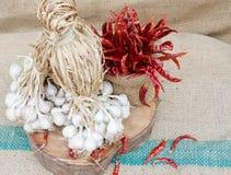 Organisch knoflook en roodgloeiende Spaanse peper Royalty-vrije Stock Foto's
