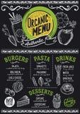 Organisch menurestaurant, voedselmalplaatje stock illustratie