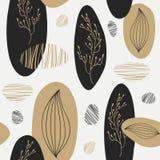 Organisch patroon met gouden en zwart element Stock Fotografie