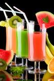 Organisch sap en verse vruchten -, Se van gezondheidsdranken Royalty-vrije Stock Foto