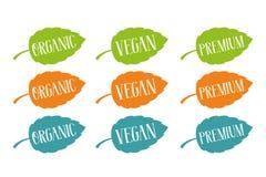 Organisch, strenger Vegetarier und Prämienvektor eingestellt für Netz und Druck Handgezogene Typografie auf bunten Blättern vektor abbildung