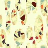 Organisch terazzo abstract modern geelgroen oranje bruin seameless patroon met gebroken witte ovalen royalty-vrije illustratie