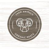 Organisch vlees of de landbouwdier - het vectorembleem maakte in een lineaire stijl stock illustratie