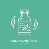 Organische Apothekenlinie Ikone Vektorlogo für Alternativmedizinspeicher stock abbildung