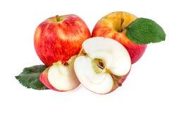 Organische appelen met bladeren op wit Royalty-vrije Stock Foto