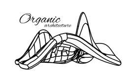 Organische Architectuur Het concept eenheid met aard met inbegrip van vlotte lijnen en overgangen royalty-vrije illustratie