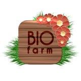 Organische Biobauernhofholzfahne Lizenzfreies Stockbild
