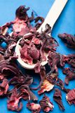 Organische droge hibiscus in een houten lepel royalty-vrije stock foto's