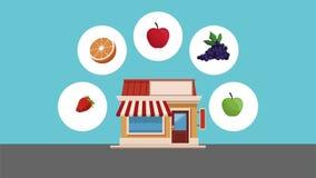 Organische en verse voedselhd animatie stock videobeelden