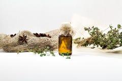 Organische essentiële thymeolie met voor schoonheid en kuuroordbehandeling stock foto