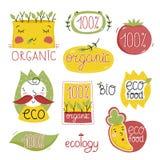 Organische etiketten en elementen Stock Afbeeldingen