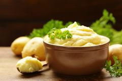 Organische fijngestampte aardappels royalty-vrije stock fotografie