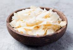 Organische Geroosterde Kokosnoot Chips Flakes royalty-vrije stock afbeelding